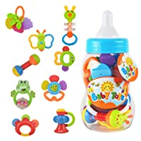 Rattle Teether Set Baby Toys - Wishtime 9pcs Shake and Grap Baby Hand Rattle Toy for Newborn with Giant Bottle Gift for 3 6 9 12 18Month Baby Infant Newborn Chritsmas Gift