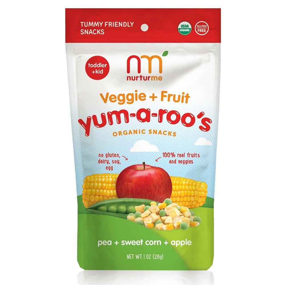 Nurturme Yum-A-Roo's Organic Toddler Snacks, Pea + Sweet Corn + Apple, 1 Ounce