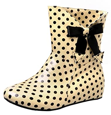 Women's Sweet Polka Dots Low Hidden Heels Ankle High Rubber Rain Boots Short Wellies With Bow