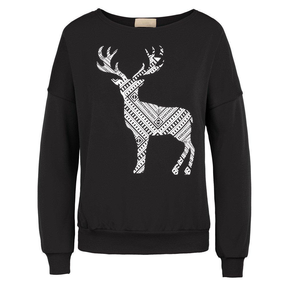 Damen T Shirt Womens Casual Lange Fledermaus Ä rmel Frohe Weihnachten Milu Deer Muster Tops Oberbekleidung Herbst Winter Warm T-Shirts Festliche Party Streetwear Hemd