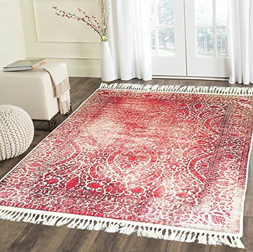 - Home Must Haves Burgundy Beige High Density Luxury Large Soft Faux Silky Persian Traditional Oriental Flat Weave Area Rug Carpet Ideal Living Room Bedroom Kitchen (6' x 9, Red
