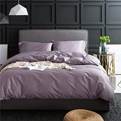 Solid Purple Luxury Bedding Set Queen 3 Piece Soft Egyptian Cotton Duvet Comforter Cover Set Hotel Quality Solid Bedding Collection 1 Duvet Cover with 2 Pillowcases Full Queen: Home & Kitchen