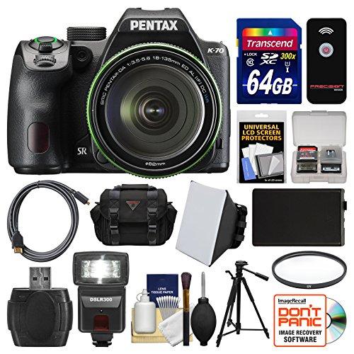 Pentax K-70 All Weather Wi-Fi Digital SLR Camera & 18-135mm WR Lens (Black) with 64GB Card + Case + Flash + Battery + Tripod + Filter + Kit