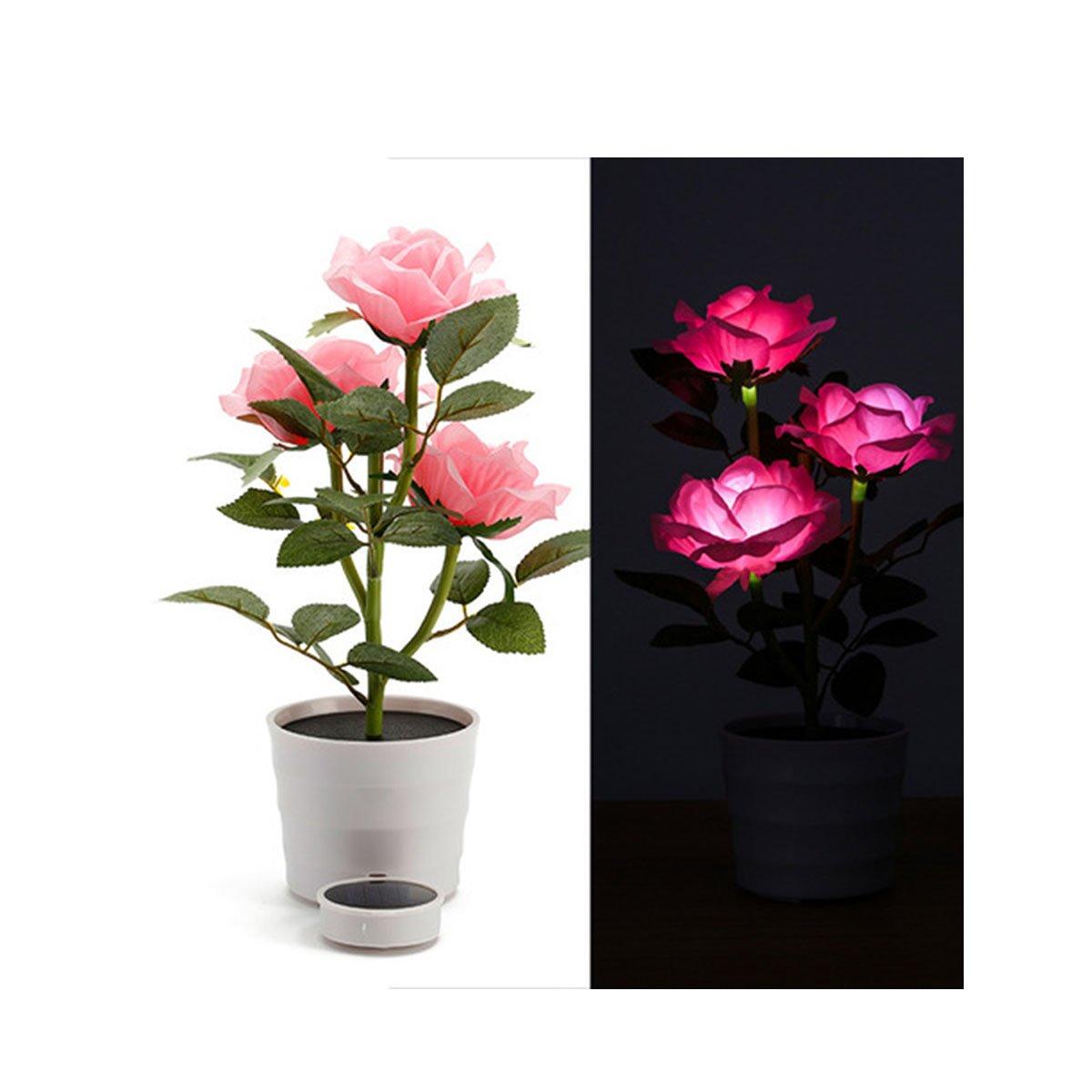 ソーラーローズフラワー人工ローズポット3ライトライト、LEDライト付き、花盆栽LEDライトランプ夜間用ホームガーデン部屋オフィスホテル 14.4inch*4.2inch ピンク B075SJNQ6W 11062  ピンク
