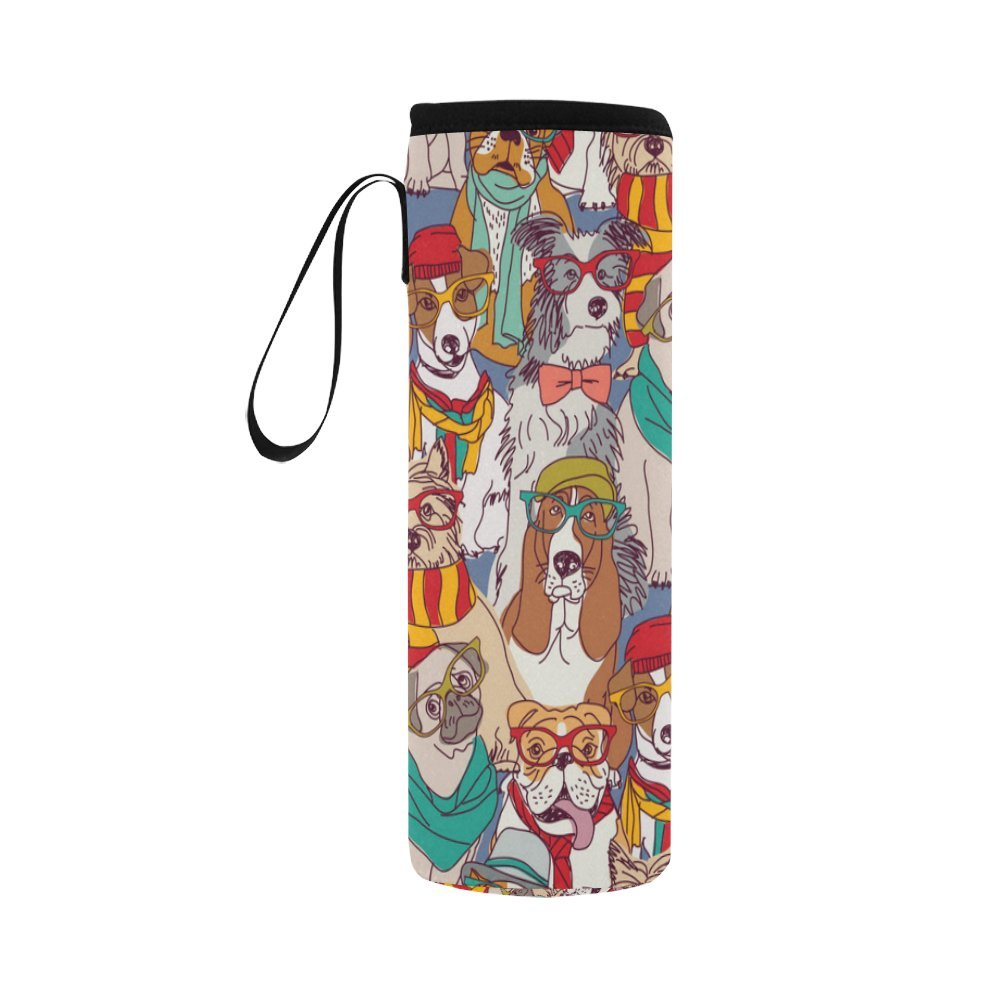 InterestPrint Hipster Fashion Dog Neoprene Water Bottle Sleeve Insulated Holder Bag 16.90oz-21.12oz, Cute Animal with Glasses Sport Outdoor Protable Cooler Carrier Case Pouch Cover with Handle