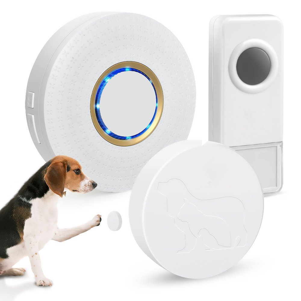 Wireless Doorbell-ELEPOWSTAR Sensitive Pets Training Waterproof Door Bells Kit Ring by Paws and Nose,No Batteries Required for Receiver,1 Plugin Receiver and 2 Push Buttons for Human and Pet