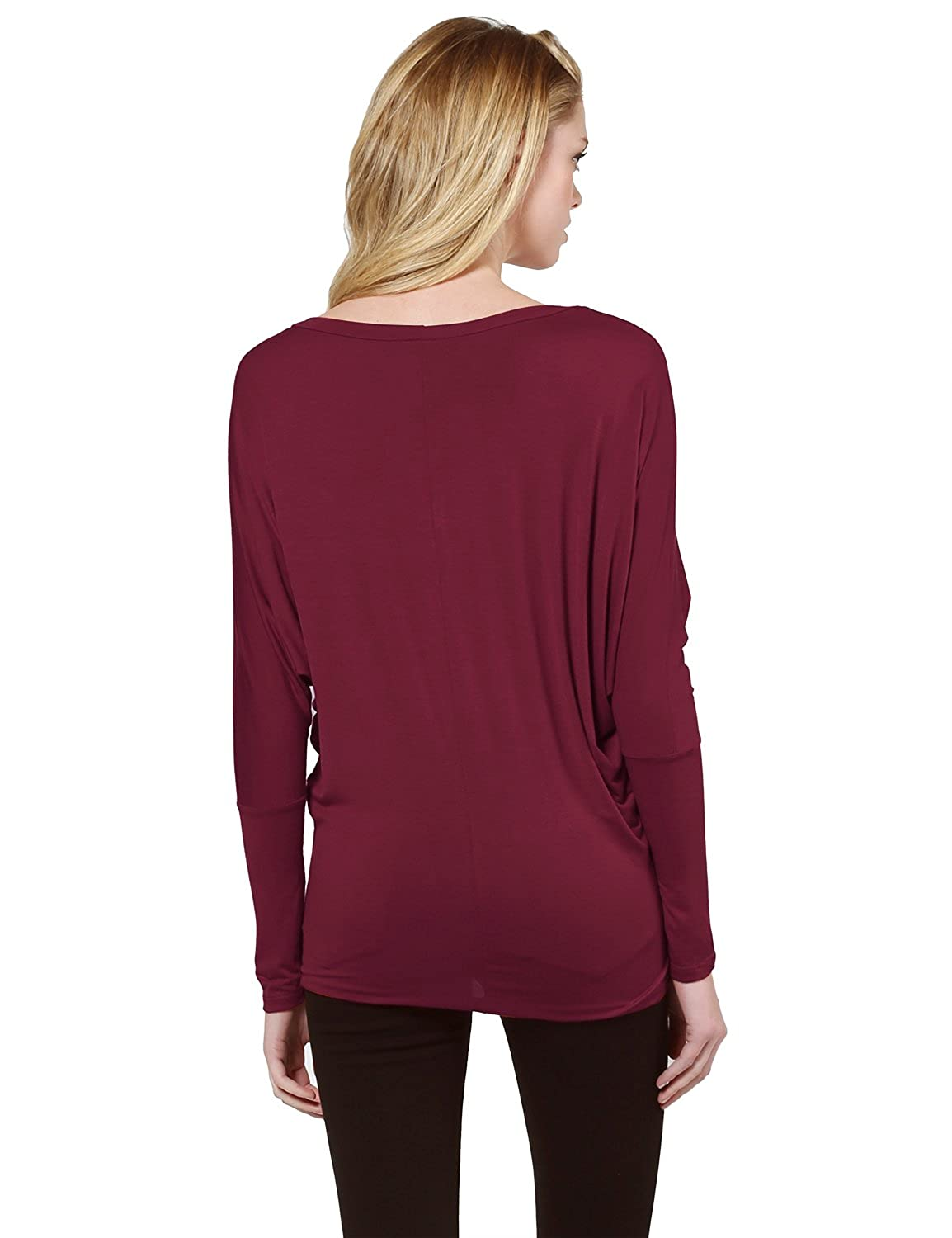 d648a3708997 Awesome21 Women's Casual Solid Boat Neck Long Dolman Sleeve Top - Made in  USA at Amazon Women's Clothing store: