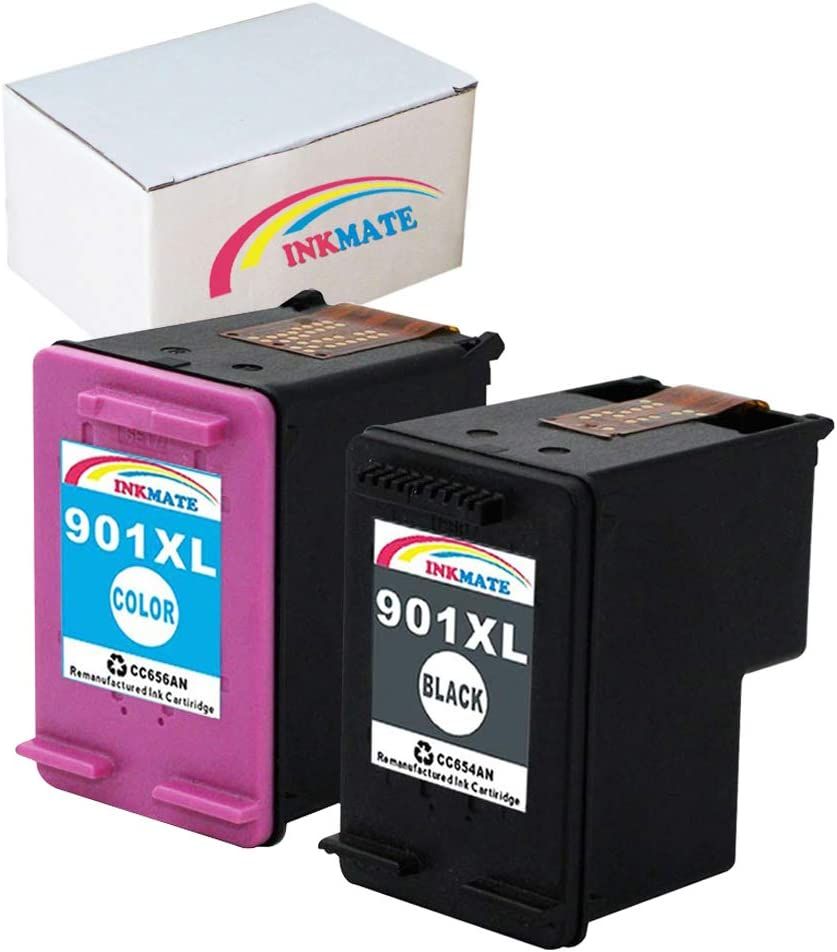 INKMATE Compatible Ink Cartridge Replacement for 901XL for HP CC654AN CC656AN OfficeJet 4500 J4680 J4580 J4550 J4540 J4524 J4624 J4640 J4660 J4680c 1Black/1Color 2Pack