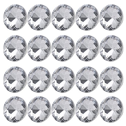Diamante Button (BQLZR 20mm Dia Clear Crystal Diamante Round Buttons Tufting Sofa Upholstery Headboard Pack of 20)