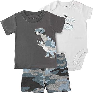 Bebé Monos T-Shirt Pantalones Cortos Pack de 3 Niños Body a Manga Corta Algodón Tops Conjunto de Ropa 3-18 Meses: Amazon.es: Ropa y accesorios