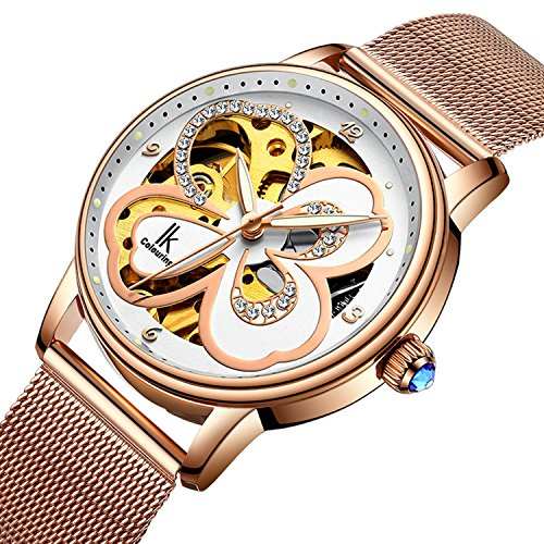 Womens Manual Winding Watch - Bestn Wristwatches Women's Skeleton Lovely Style Rose Golden Four-leaf Clover Stainless Watch (rose golden)
