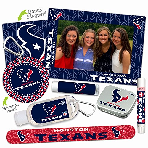 Houston Texans Deluxe Variety Set with Nail File, Mint Tin, Mini Mirror, Magnet Frame, Lip Shimmer, Lip Balm, Sanitizer. NFL gifts for women Mother's Day, Stocking Stuffers