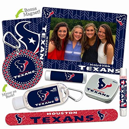 Houston Texans DELUXE Variety Set (Nail File, Mint Tin, Mini Mirror, Magnet Frame, Lip Shimmer, Lip Balm, Sanitizer). NFL gifts for Valentine's Day, Easter, Mother's Day, stocking - Frame Houston Store