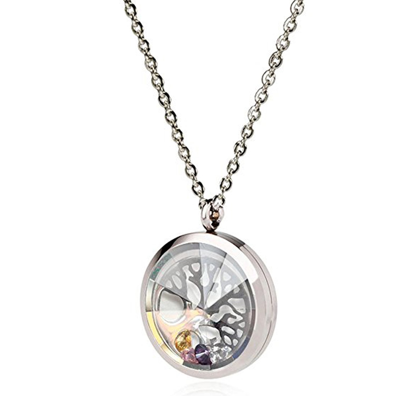 EVERLEAD Living Memory Floating Round Locket Pendant Necklace 316L Stainless Steel Toughened Glass Free Chain and Zircon (Screw style 30mm(angular lid -2)) by EVERLEAD
