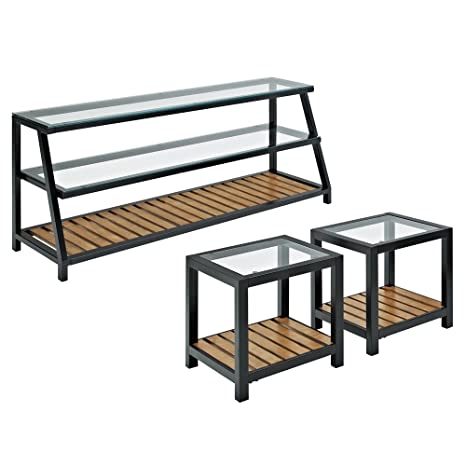Amazon Com Glass Metal Wood Tv Stand And Coffee Table Combo