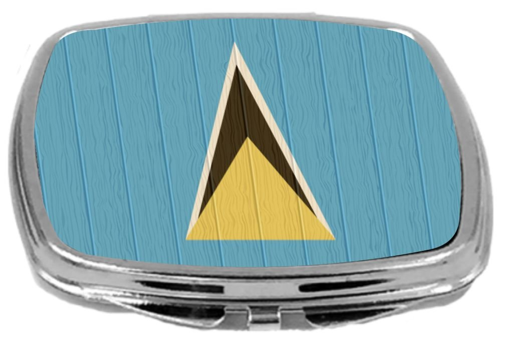 Rikki Knight Compact Mirror on Distressed Wood Design, Saint Lucia Flag, 3 Ounce