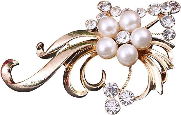 Elegant Women Pearl Rhinestone Crystal Flower Bouquet Brooch Pin Scarf Clip Pin