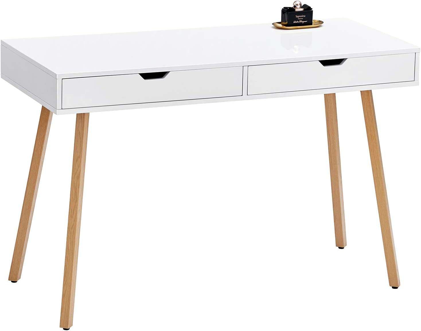 "GreenForest Vanity Desk Computer Writing Desk Large Size 47.2""x19.7"" with Glossy White Tabletop and 2 Drawers Modern Bedroom Makeup Table Home Office Desk"