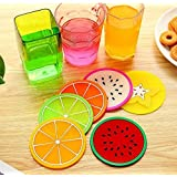 KaLaiXing brand Insulation pads.Silicone Fruit Slices Pattern Coaster Glass Cup Mat Drink Placemat Non Slip.Diameter: 9cm--6 pcs