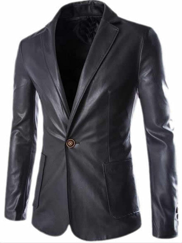 ARRIVE GUIDE Mens Plain Faux Leather Coat Blazer Jackets