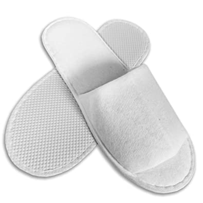 9b854b46dd9a7 10 Pairs SPA HOTEL Guest SLIPPERS OPEN TOE TOWELLING DISPOSABLE TERRY STYLE  NEW: Amazon.co.uk: Shoes & Bags
