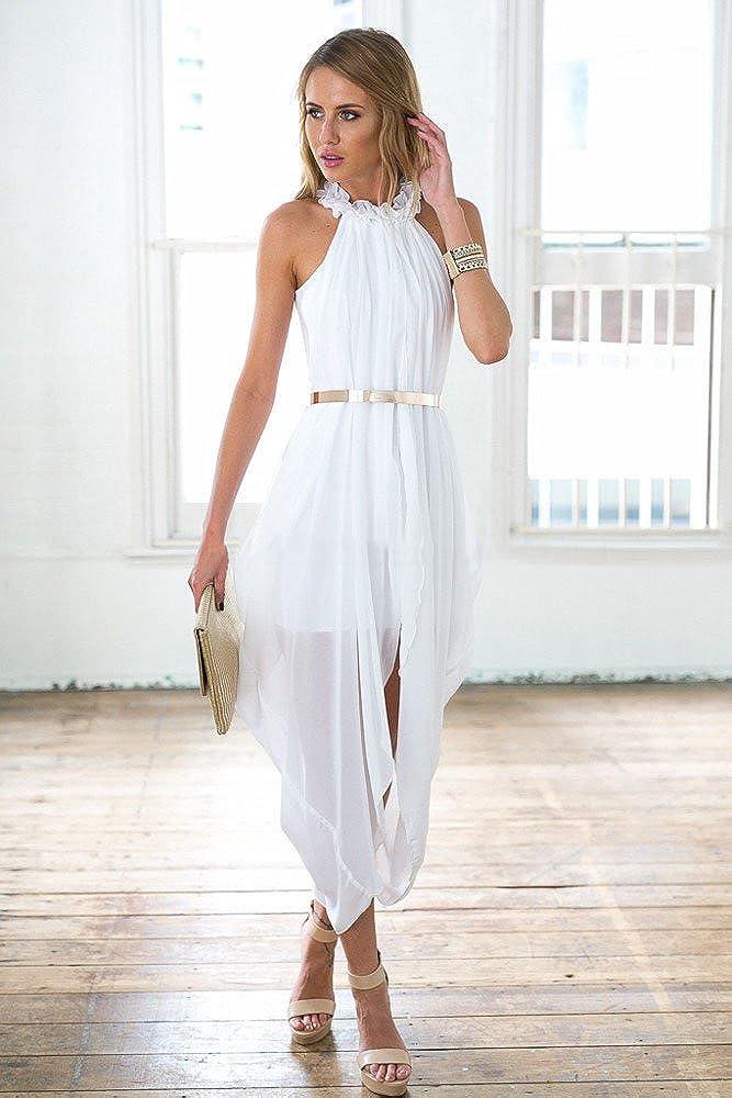 492938ef59 Women's Sheer Chiffon Folds Hi Low Loose Dress Delicate Gold Belt at Amazon  Women's Clothing store: