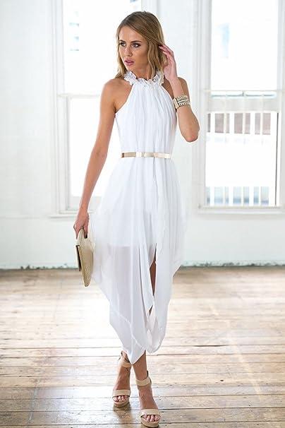 51f1d7b59d1 Women s Sheer Chiffon Folds Hi Low Loose Dress Delicate Gold Belt at Amazon  Women s Clothing store