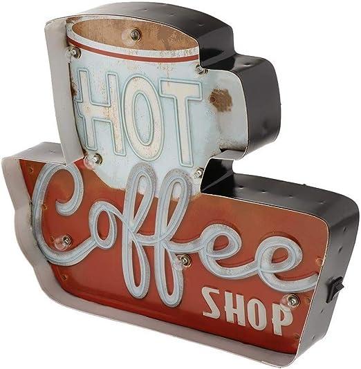Ykop - Caja de luz LED para bar, cafetería, restaurante, club, decoración vintage, diseño de café: Amazon.es: Iluminación