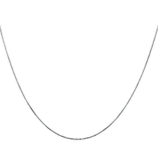 Timoo 925 Sterling Silver 0.8mm Box Chain Super Thin Strong Italian Crafted Necklace 14-36 inches HNqqxGt