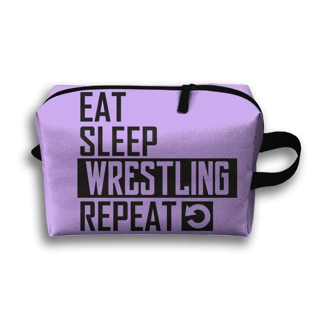 Travel Jewelry Handbag Eat Sleep Wrestling Repeat Cosmetic Case Organizer Bag