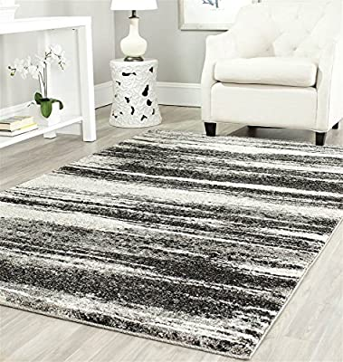 Safavieh Retro Collection RET2693-8479 Modern Abstract Dark Grey and Light Grey Runner Variation Family: 3554-P
