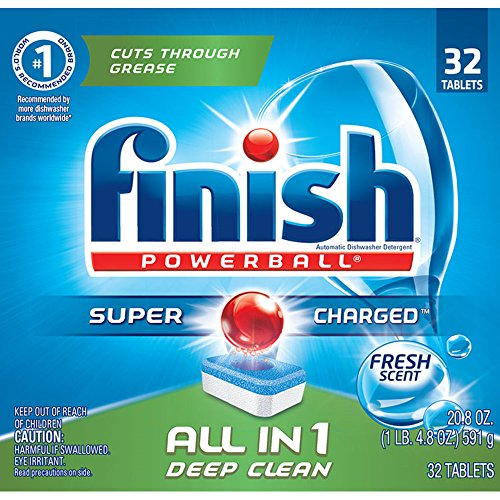 Amazon Deals - Finish Powerball Tabs Dishwasher Detergent Tablets, Fresh Scent, 32 ct