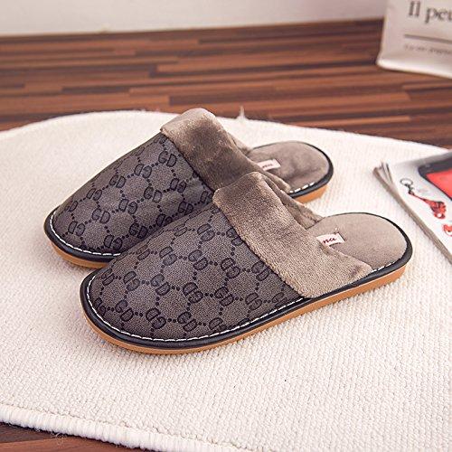 indoor en hommes coton accueil brown 45 chaleureux étanches 44 Chaussons en femmes d'hiver 43 Chaussons 44 Deux pieds timbres et de cuir d'hiver d'épaisseur wEYXAxxFq