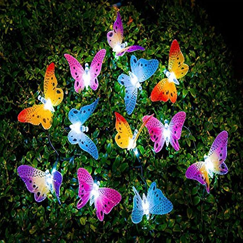 - Garden Solar Lights Butterfly String Lights Waterproof Fiber Optic Butterfly Shaped 12 LED Multicolor lamp for Garden, Lawn, Patio, Wedding, Party, festival, Outdoor Decoration MaiTian (multicolor)
