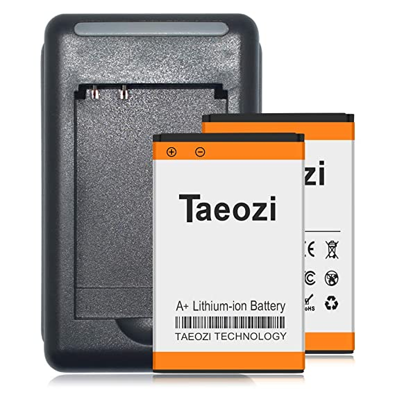 Taeozi BL-5C Battery Charger, 2 x 1600mAh Li-ion Replacement Battery+AC  Wall Charger for Nokia BL-5C 3105 3120 Phone bl5c Radio Spare Battery [ 365