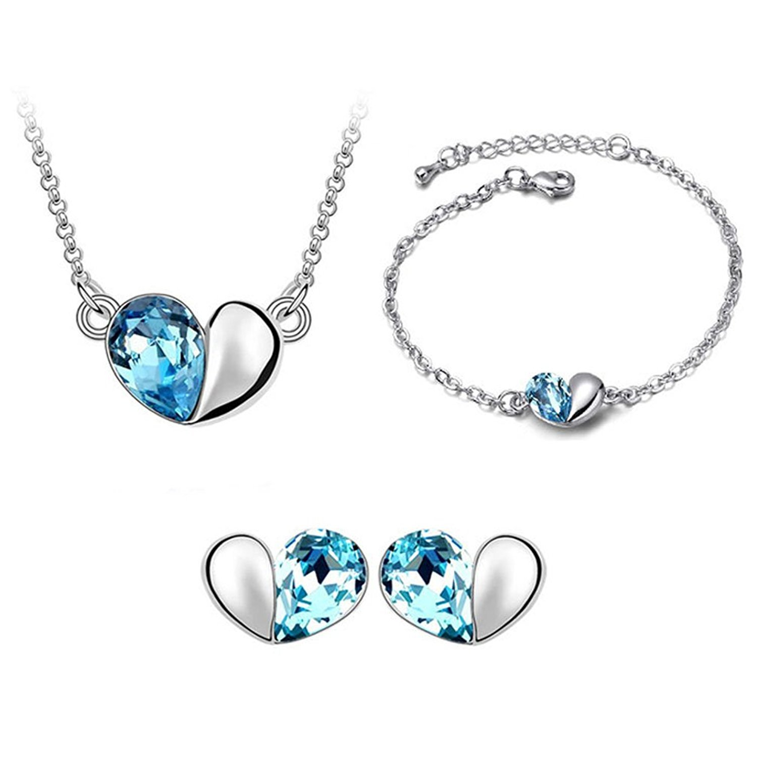 Dame GS Silver-tone Love Heart Swarovski Elements Jewelry Sets, Crystal Necklace, Bracelets, Earrings Ensemble Fashion Jewelry Dame GS Fashion Jewelry