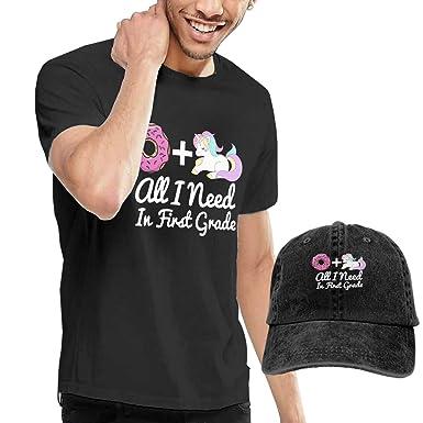 af7ebbf38105 Amazon.com  Pink Donut And Purple Unicorn Men s Short Sleeve T-Shirt   Polo Style  Baseball Caps Hats  Clothing