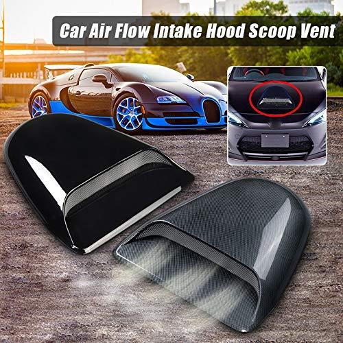 Daphot-Store - 1pcs New Carbon Fiber Look For Flat Car Universal Air Flow Intake Cover Decorative Hood Scoop Vent Engine Bonnet