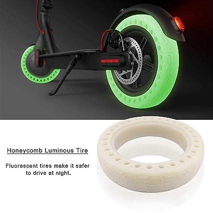 TiooDre Neumático fluorescente de 8.5 pulgadas para el scooter eléctrico Xiaomi M365, neumático de panal de reemplazo luminoso sin cámara para el ...