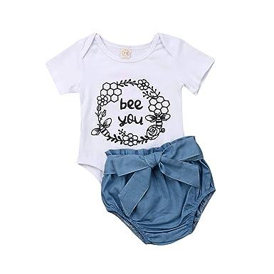 212393520 Amazon.com: Newborn Infant Baby Girl Letter Print T-Shirt+Denim Floral  Print Short Pants+Bowknot Headband Clothes Outfit Sets 3PCS: Clothing