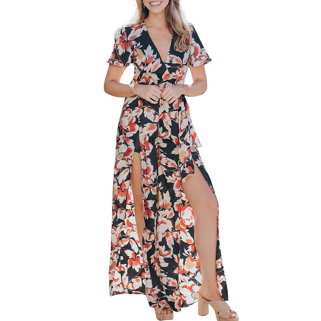 8caf2a960fc Amazon.com  Women Romper for Casual Sexy Chiffon Flower Print Short Sleeve V -Neck Split Wide Leg High Waist Jumpsuit Black  Clothing