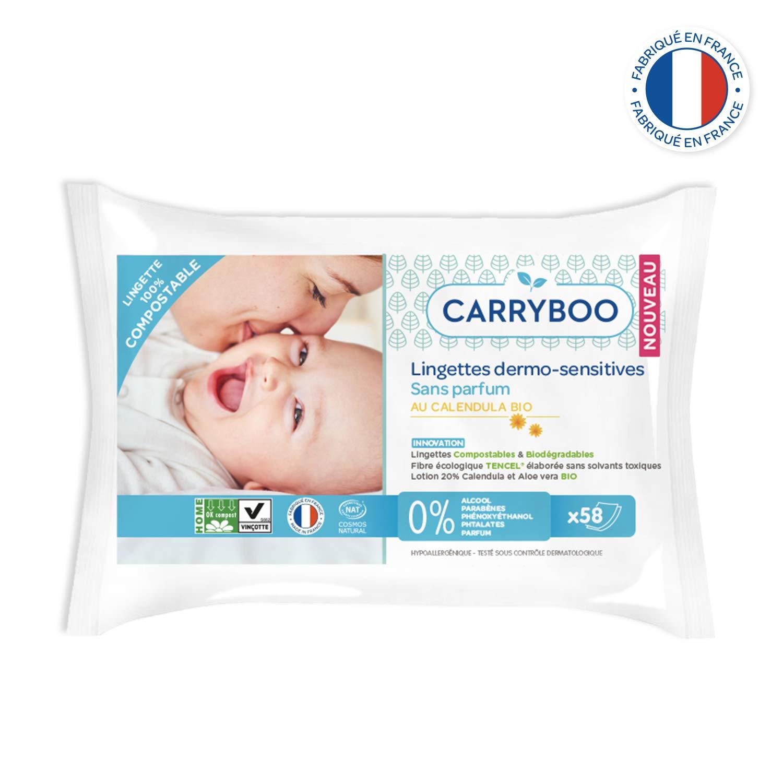 CARRYBOO Paquet de 58 Lingettes Bébé Compostables au Calendula Bio - Lot de 9 3760001760798