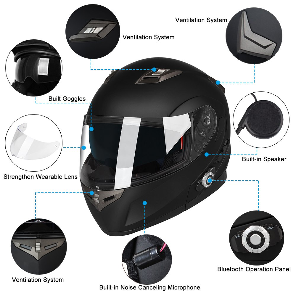 Motorcycle Bluetooth Helmets,FreedConn Flip up Dual Visors Full Face Helmet,Built-in Integrated Intercom Communication System(Range 500M,2-3Riders Pairing,FM radio,Waterproof,L,Red) by FreedConn (Image #6)