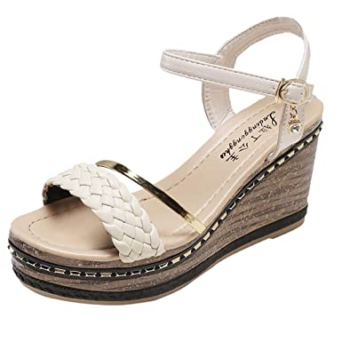 305bddcaa Amazon.com  Women  Open Toe Wedges Shoes Buckle Color Summer Bohemia High  Flat Sandals Platform Wedge for Ladies Girl  Clothing