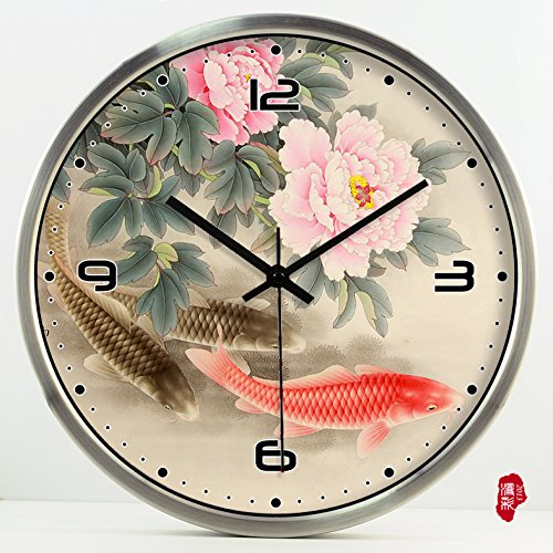 (TNKML Large Indoor Decorative Wall Clock Vintage Peony Creative Clocks Quartz Clock Country Mute Classic Living Room Kitchen Art Garden Clock 175, 16 Inches, Silver Metal Frame)