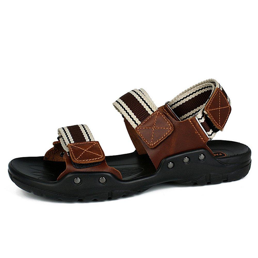 Xiaoqin Männer offene Kappe Casual Leder Comfort Schuhe Rutschfeste Verstellbare und Sandalen geeignet für Innen- und Verstellbare Outdoor-Freizeit-Sport (Farbe : Coffee, Größe : 42 2/3 EU) Coffee 67838a