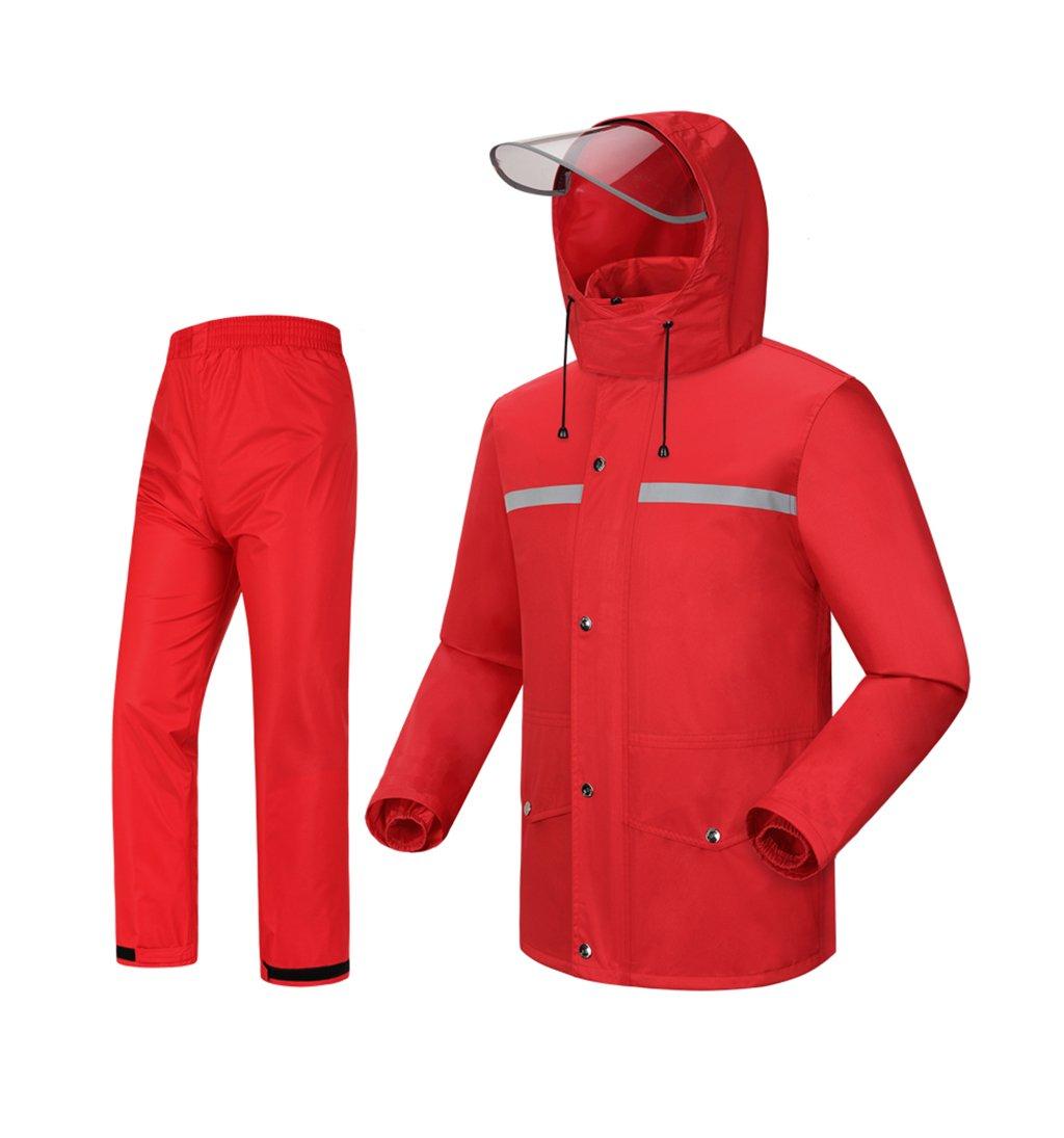 Mj-cj Rainsuit- Rainsuit (Rain Jacket and Rain Pants Set) Adults Rainproof Windproof Hooded Outdoor Work Motorcycle Golf Fishing Hiking Hunting (Size : XL)