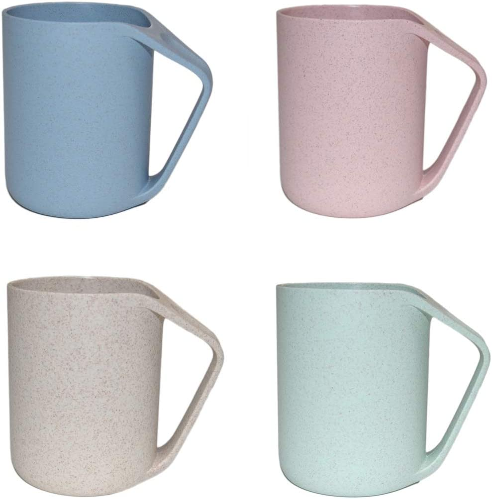 TeenFighter Creative Plastic Coffee Cups (4 Color Pack), Party Cups, Upgraded Plastic Mugs with Handles, Wheat Straw Cups for Water, Coffee, Milk, Juice, Tea size 13.5 oz (blue&green&beige&pink)