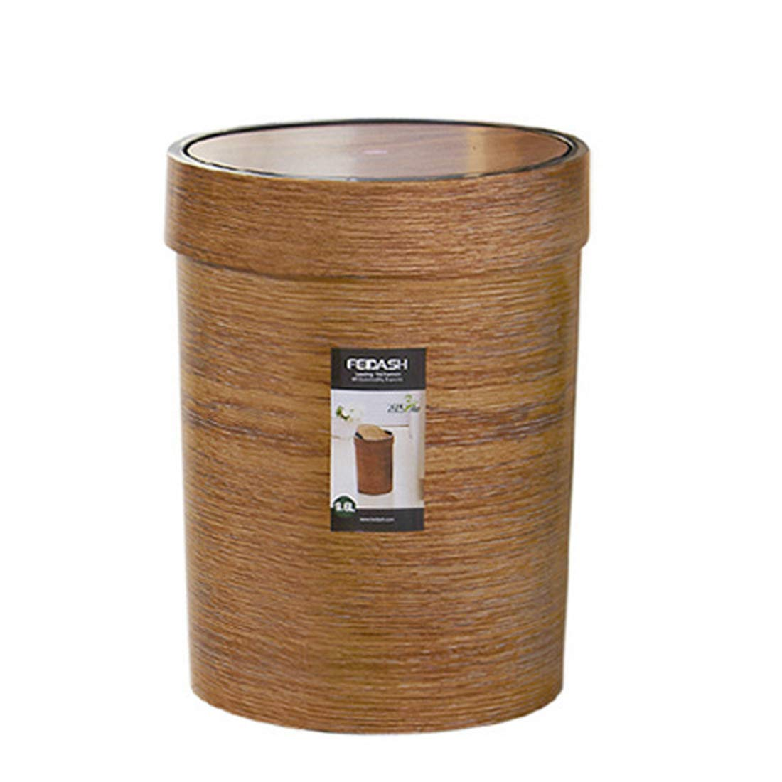 HMANE 10L Trash Can Swing Top, Plastic Retro Style Wood Grain Waste Basket Swing-lid Garbage Bin