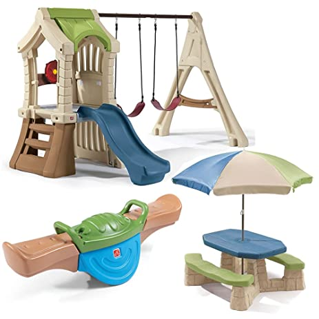 step2 swing set and backyard playset comb includes plastic swing set kids picnic table